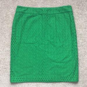 NWT Talbots Kelly green eyelet skirt sz 14
